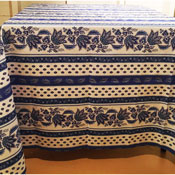 Square White & Blue Lisa Pattern Tablecloth