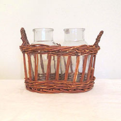 Double Vase Wicker Planter