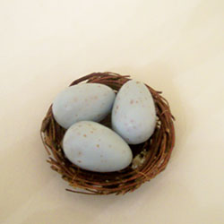 Nest with 3 robins egg soaps