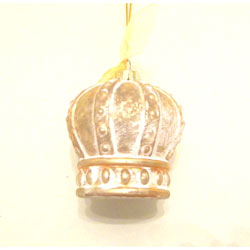 Gold and White Crown Ornament