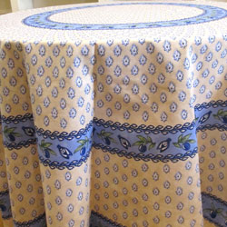 "Round Cream and Blue Monaco"" Tablecloth"