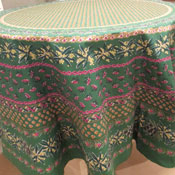 "Round Green ""Olives"" Tablecloth"