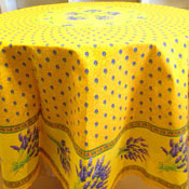 Round Yellow Lavender Tablecloth
